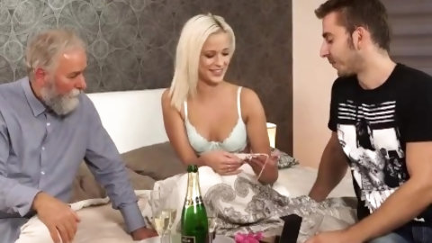 This sexy young chick has a stepdad, that has the hots for her. He uses a vibrator on her cunt, to get her nice and wet down there. She returns the fa