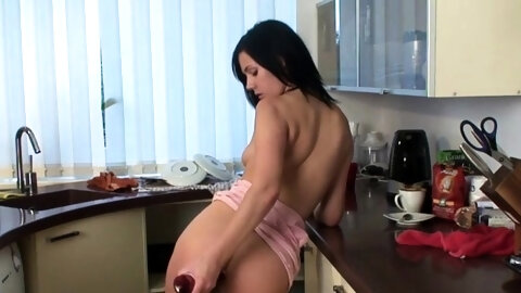 Sasha is gorgeous. She has a sexy body and a slutty mind and she is on the bed, undressing in a very naughty way until she remains only in her white s