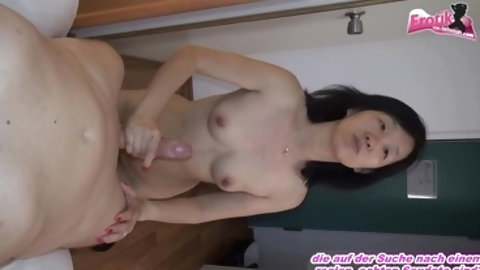 Pretty young brunette babe Anissa Kate is pleasing her fucker���s dick with deep blowjob and hot titjob and gets fucked by him in her cunt.